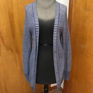 Blue long knit cardigan buttons small
